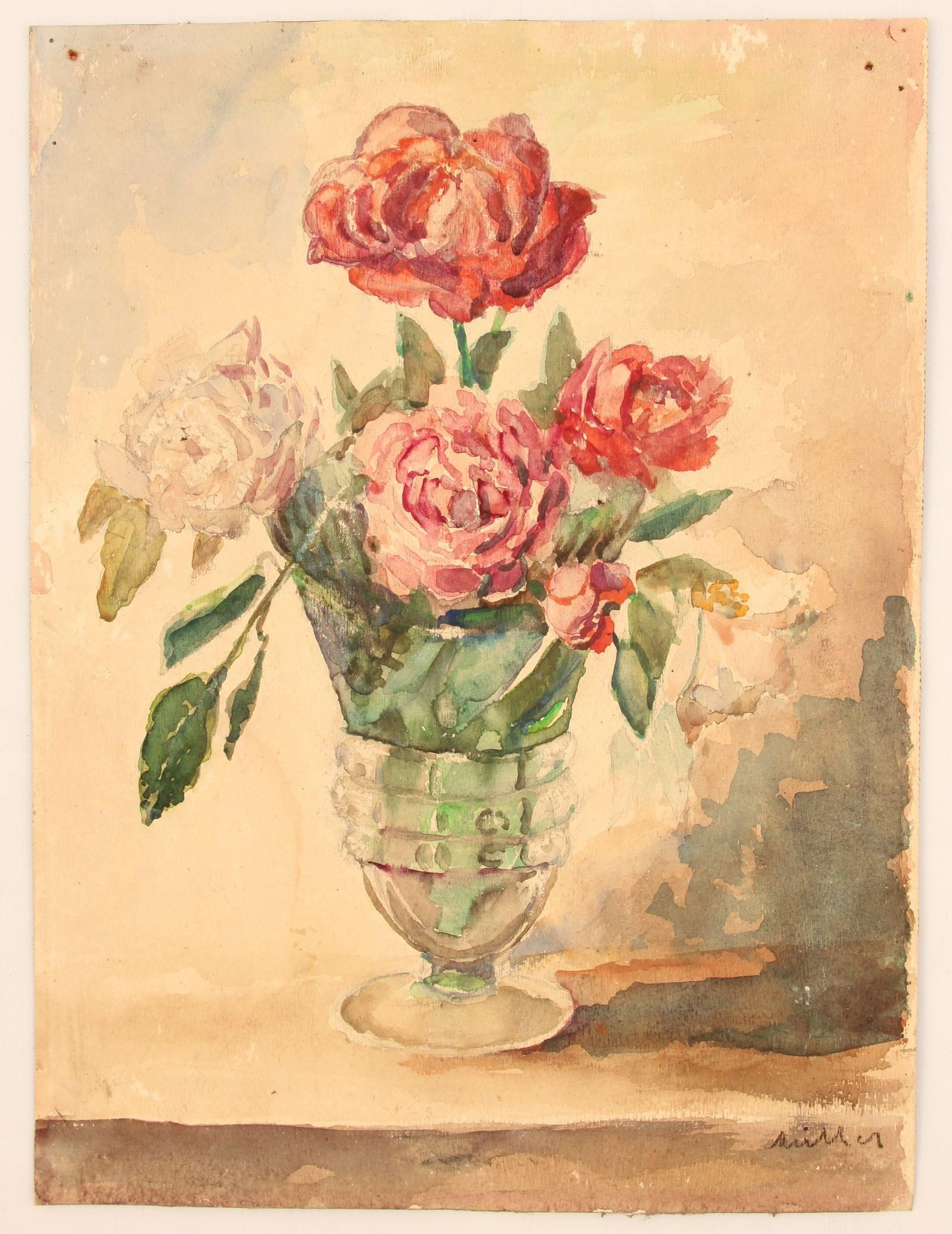 """""""Vase of Roses"""" - 19th Century Impressionism Still Life by """"Müller"""" / Aquarelle Watercolor Painting from Germany"""