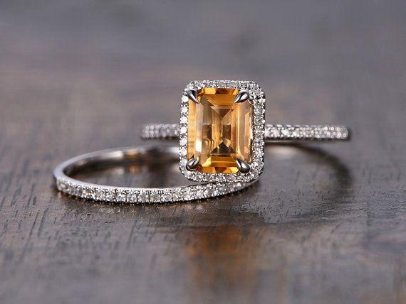 Citrine Engagement Ring Set 6x8mm Emerald Cut by kilarjewelry