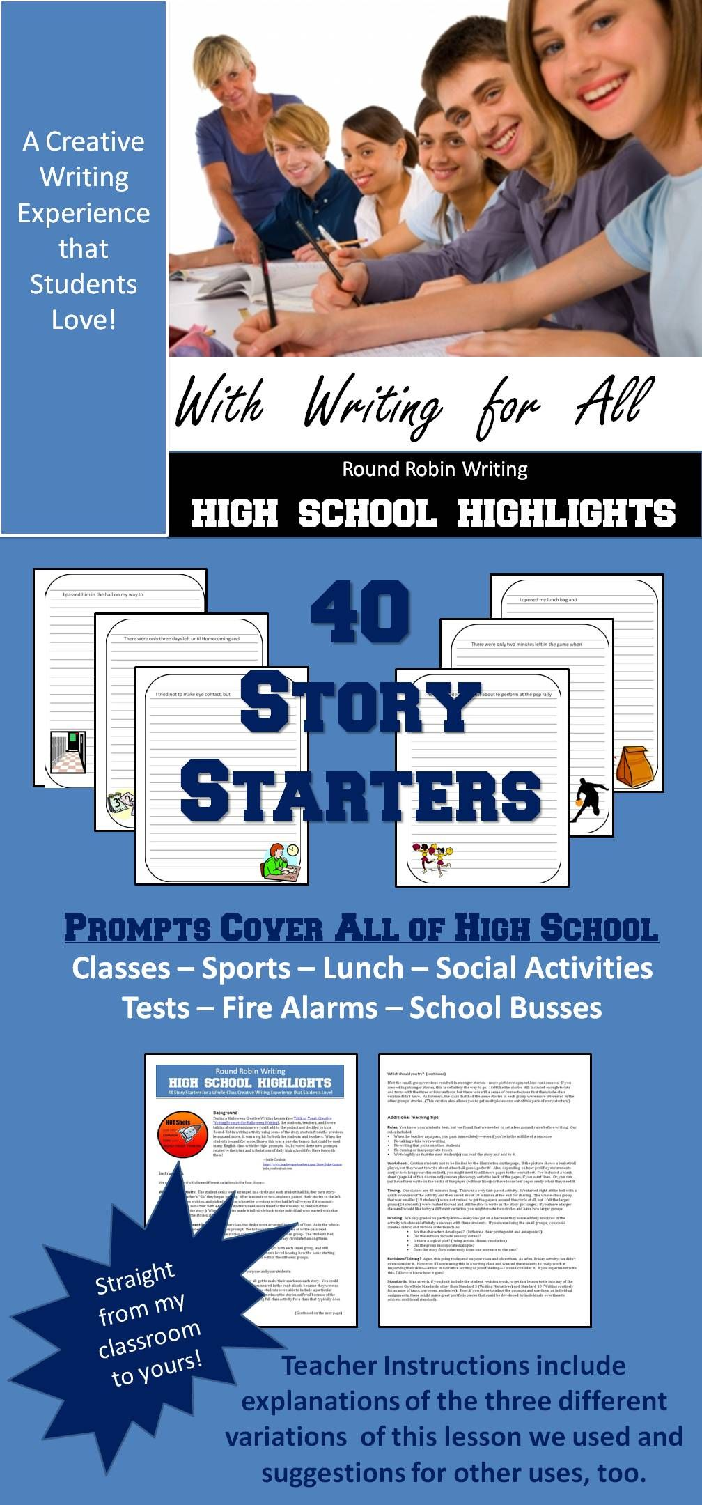 fun creative writing activities for high school students Summary: simmons presents a series of creative activities that have advanced her high school students' vocabularies and impressed on them the power of words write now newsletter get more great resources on teaching and writing delivered to your inbox every month by subscribing to our write now newsletter.