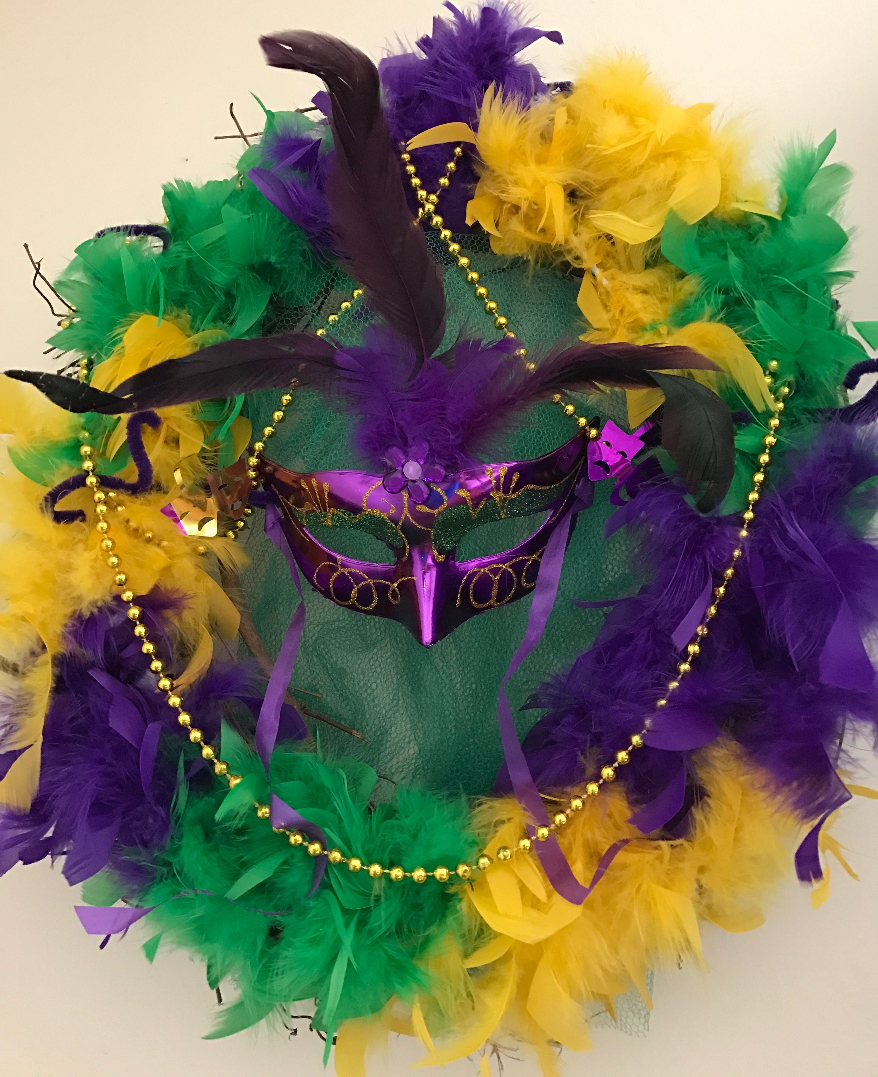 Mardi Gras Weath. Fat Tuesday. Purple Green and Yellow. Tri-color ...