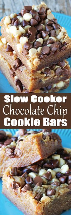 Slow Cooker Chocolate Chip Cookie Bars ~ keep the oven off and the kitchen cool with chocolate chip cookie bars made in the crock pot...slow cooker desserts are the best!