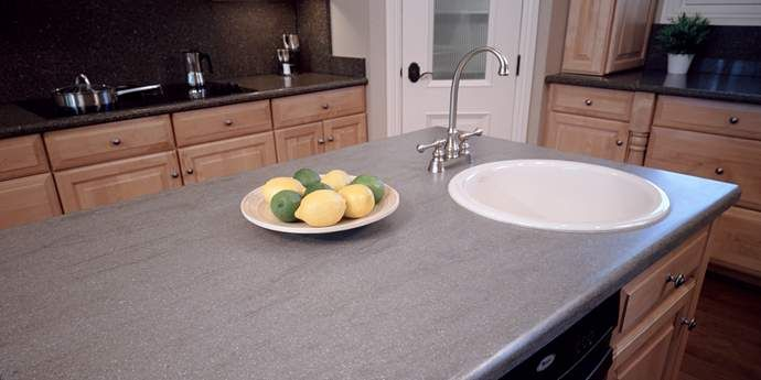 Terrific Corian Natural Gray Kitchen Counters Kitchen Bathroom Download Free Architecture Designs Scobabritishbridgeorg