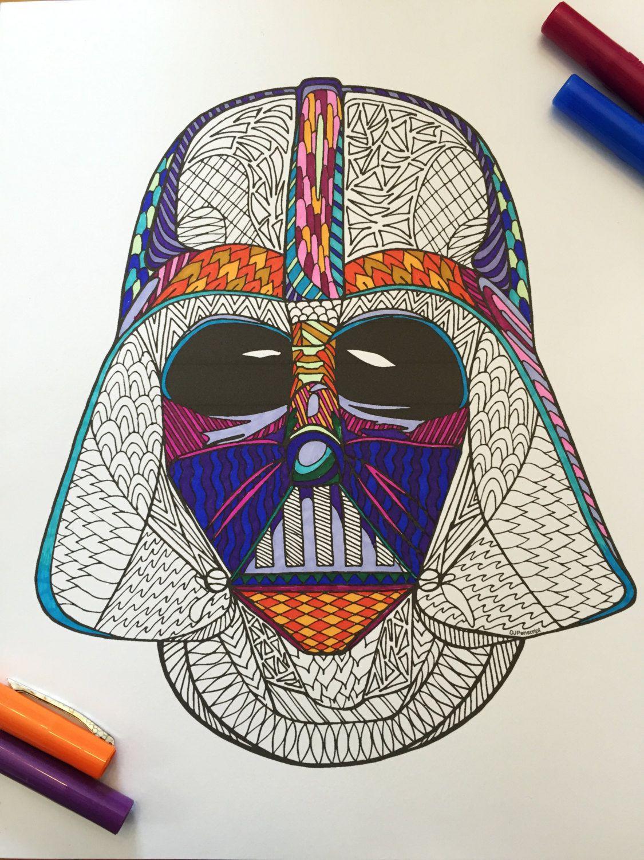 Darth Vader Helmet - PDF Zentangle Coloring Page   Pinterest   Vader ...