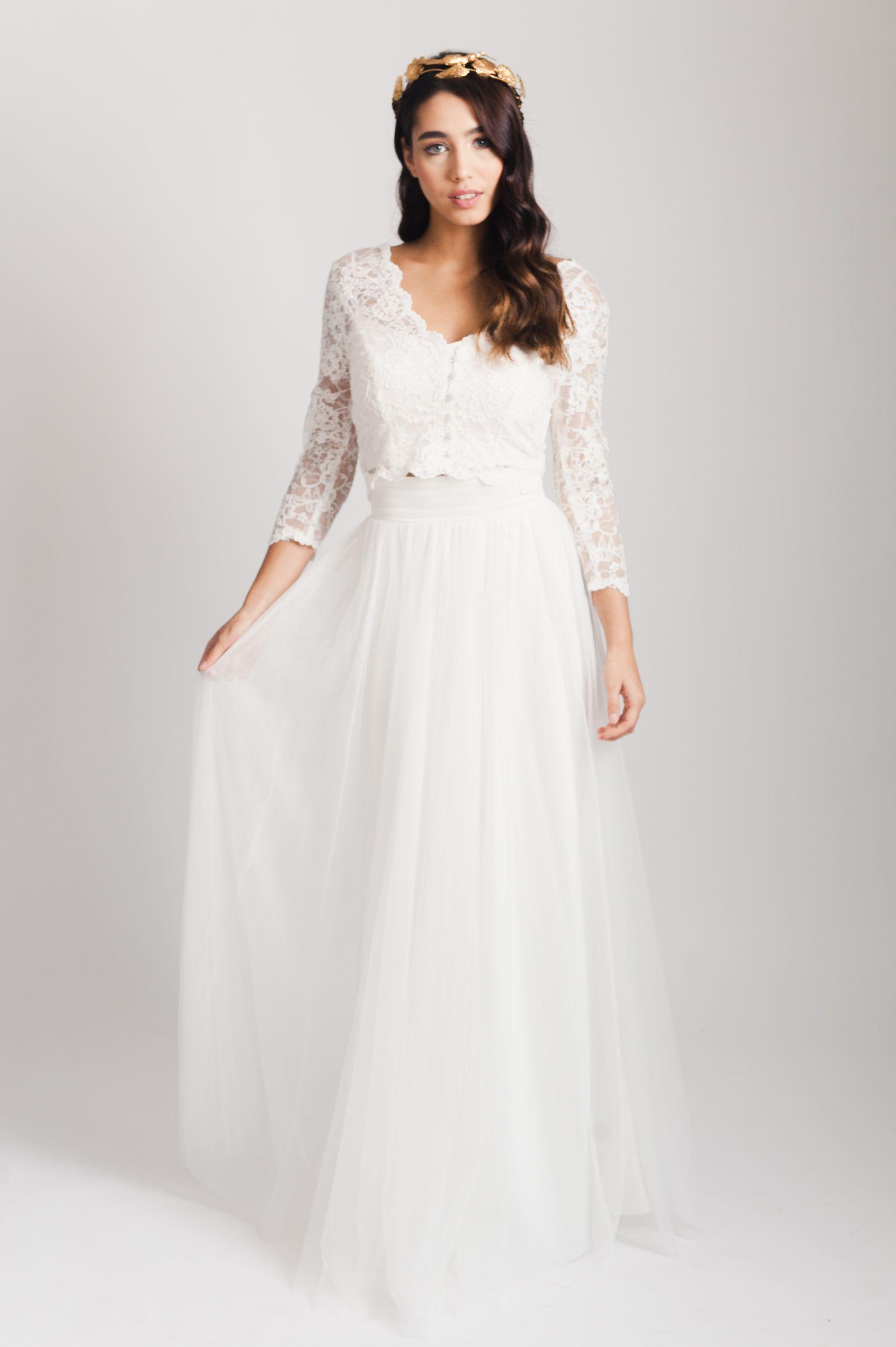 Evangeline top. V neck bridal lace topper ethical wedding