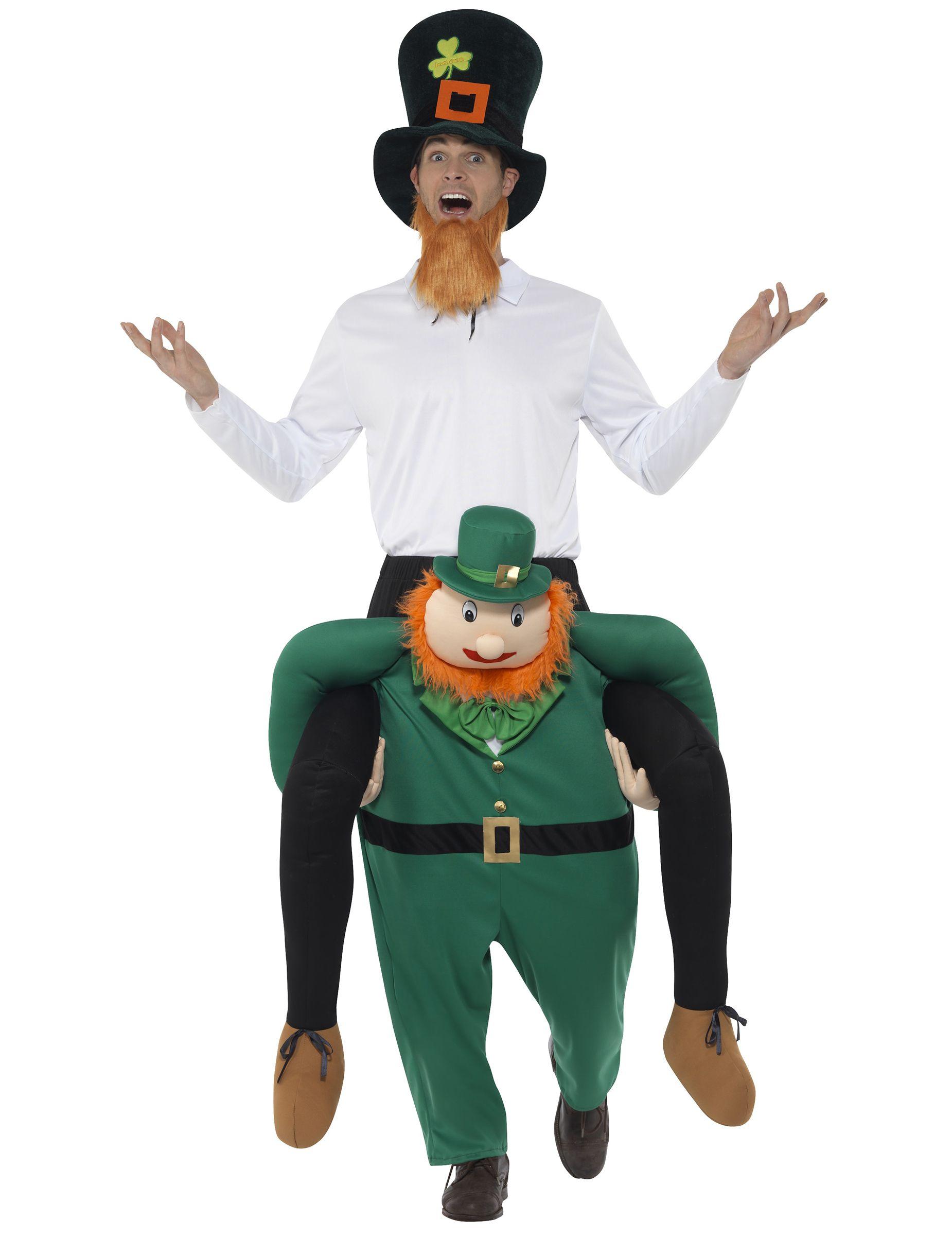 Mann auf Rücken von Kobold St. Patrick\'s Day Kostüm