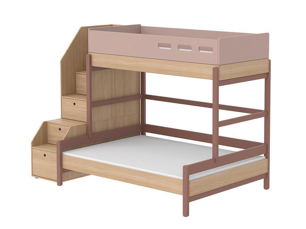 flexa popsicle 3er etagenbett mit stauraum treppe cherry 90x200cm 90 10764 33 jetzt bestellen. Black Bedroom Furniture Sets. Home Design Ideas