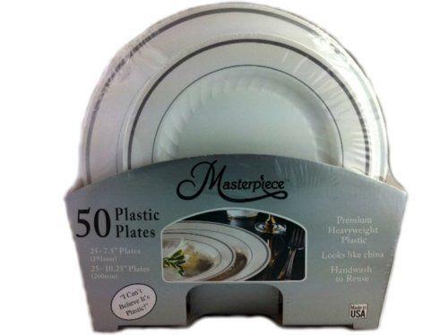 Masterpiece Premium Quality Heavyweight Plastic Plates 25 Dinner Plates and 25 Salad Plates Masterpiece   sc 1 st  Pinterest & Masterpiece Premium Quality Heavyweight Plastic Plates: 25 Dinner ...