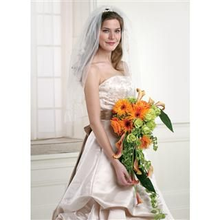 Orange Gerbera Daisies with Roses and Mini Calla Lilies Cascading Bridal Bouquet