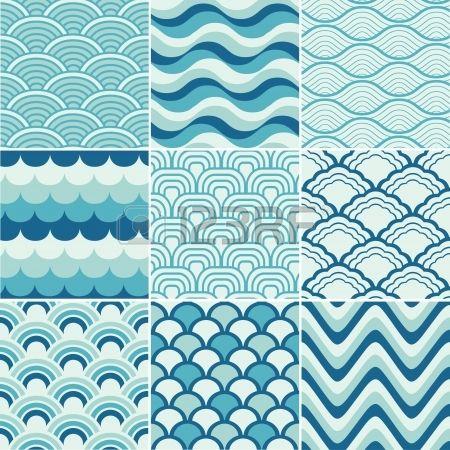 seamless retro wave pattern print