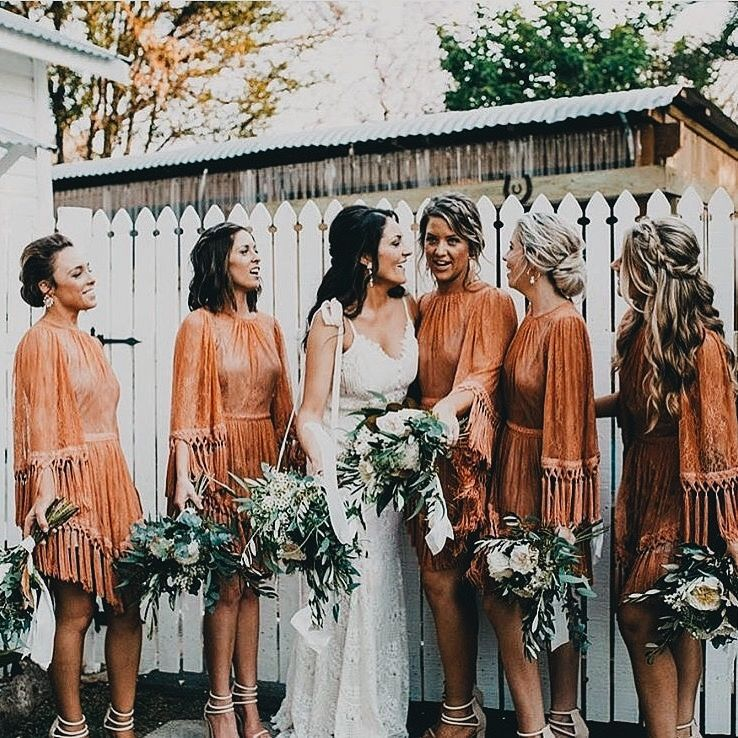 Bridal Party Bridesmaid Dress Fall Orange Color Inspiration Bridesmaid Dresses Boho Brown Bridesmaid Dresses Fall Bridesmaid Dresses