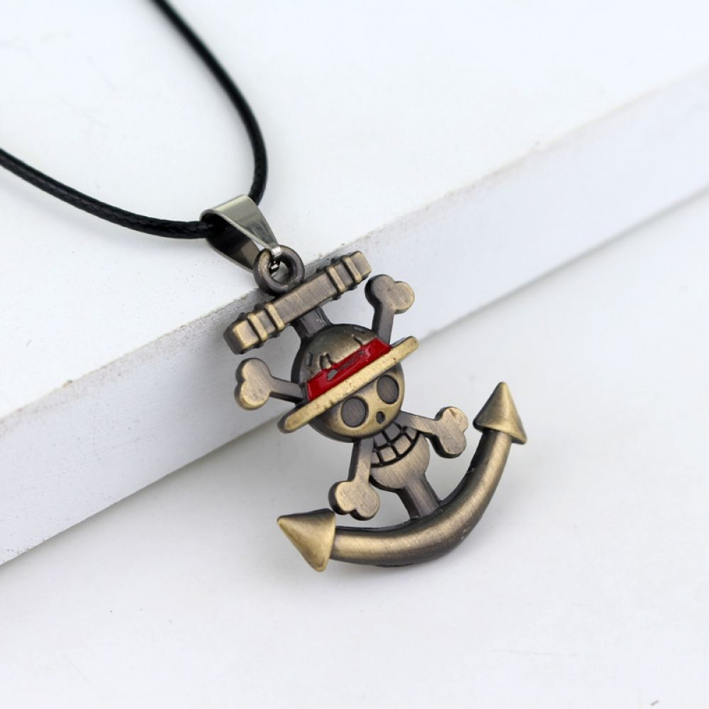 Anime One Piece Luffy Straw Hat Wanted Pendant Bronze Metal Necklace Cosplay