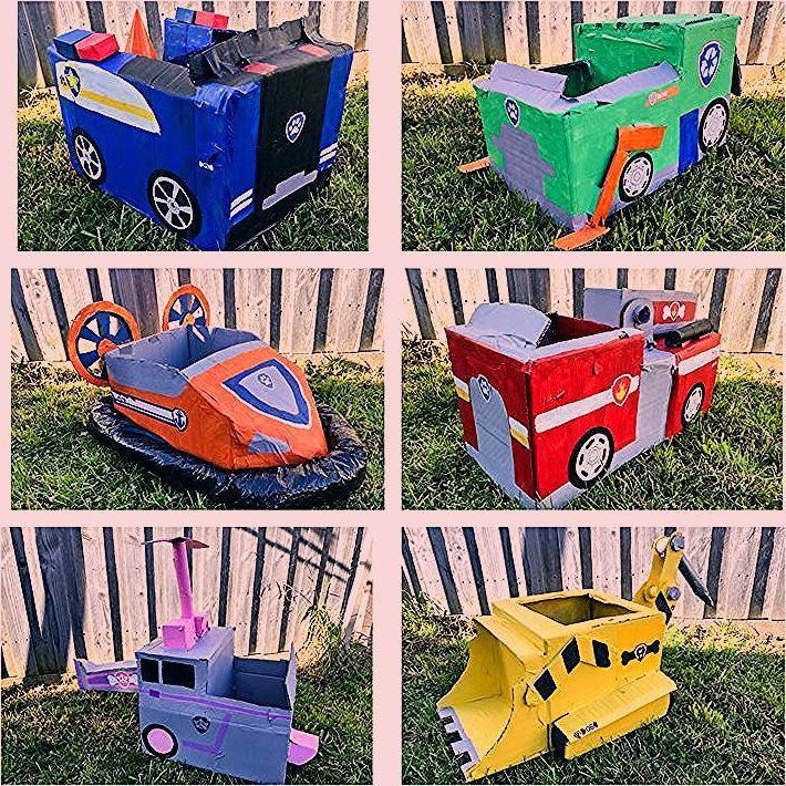Paw Patrol Party cardboard vehicles. Kids activities. Party games ,  #Activities #Cardboard #...