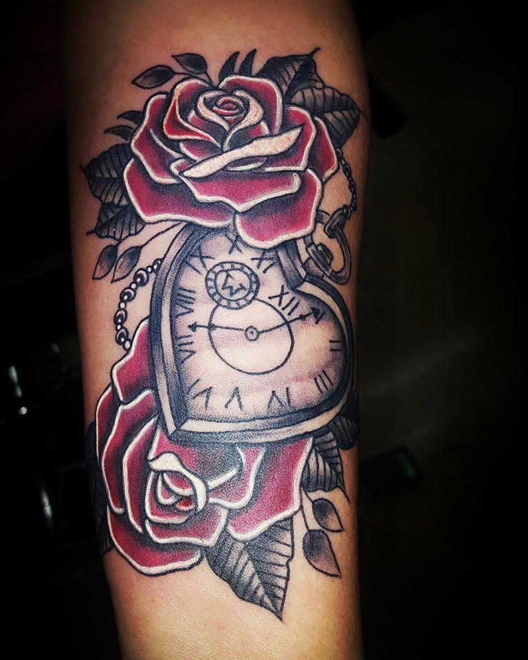 a8ac8d4e7 custom roses and heart shaped clock tattoo @sabrinacruz005  @skinelixirtattoo at Skin Elixir Tattoo in Jacksonville NC