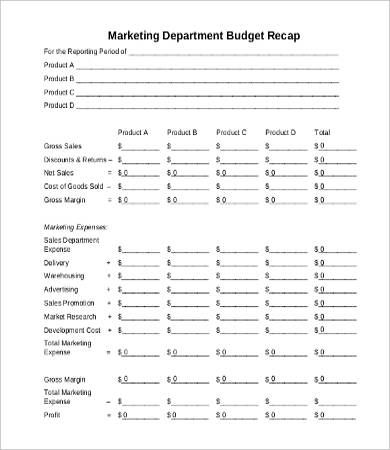 marketing department budget template departmental budget template