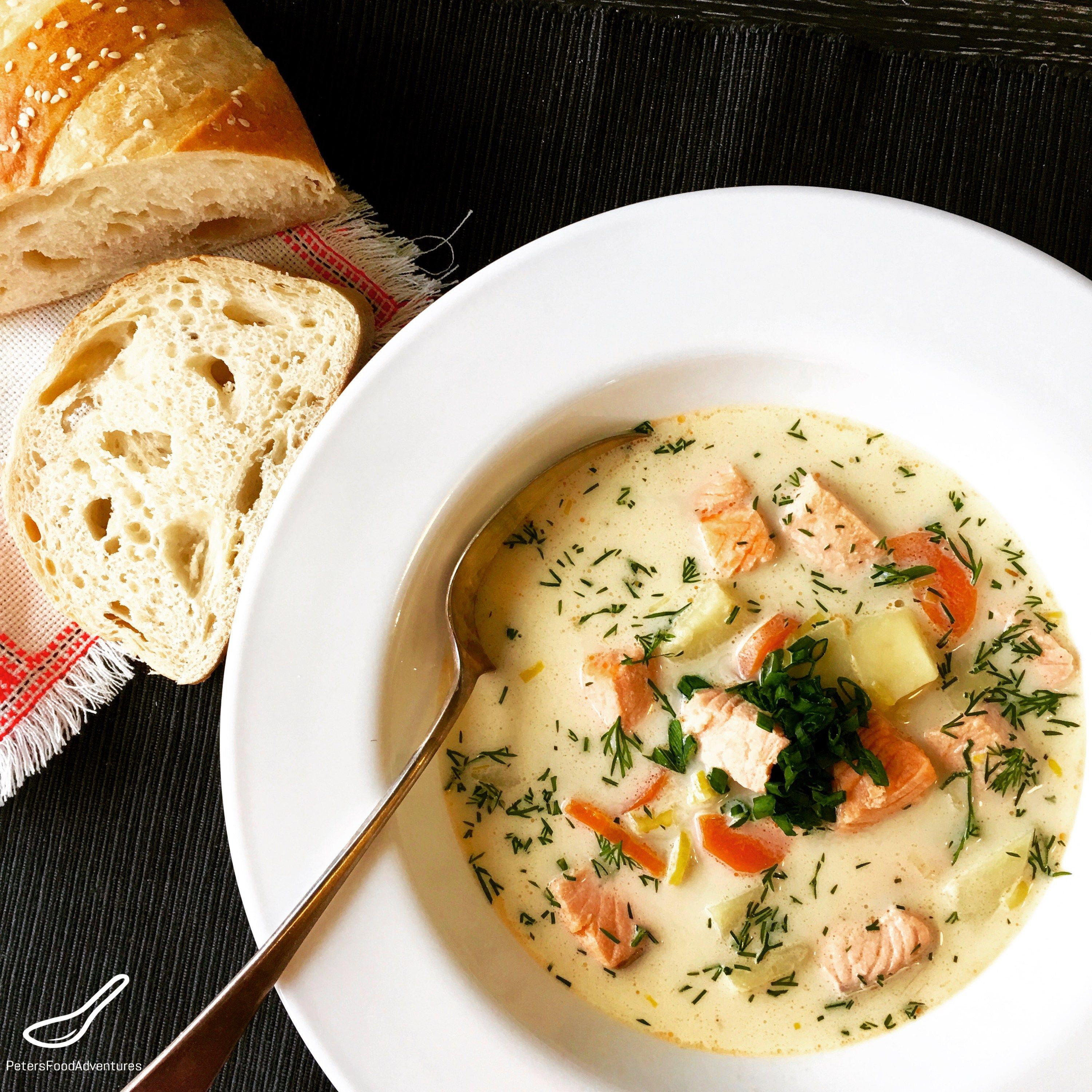 A creamy Salmon and Potato Soup or Creamy Ukha Soup. Real Fish Broth made with fish heads. Lohikeitto - Finnish Fish Soup (Финская уха)