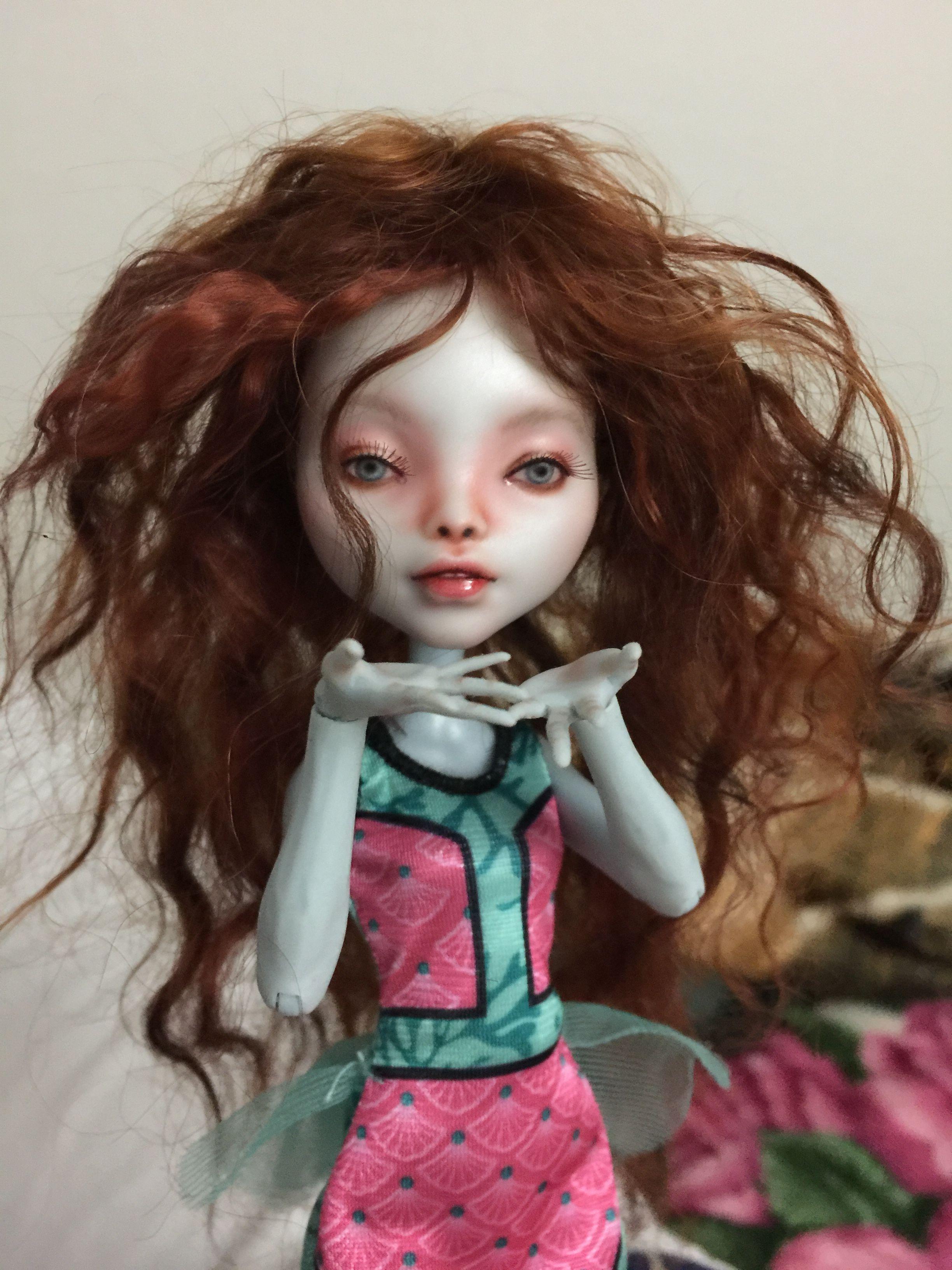 One of the three dolls I repainted last summer 2016. Bek R.