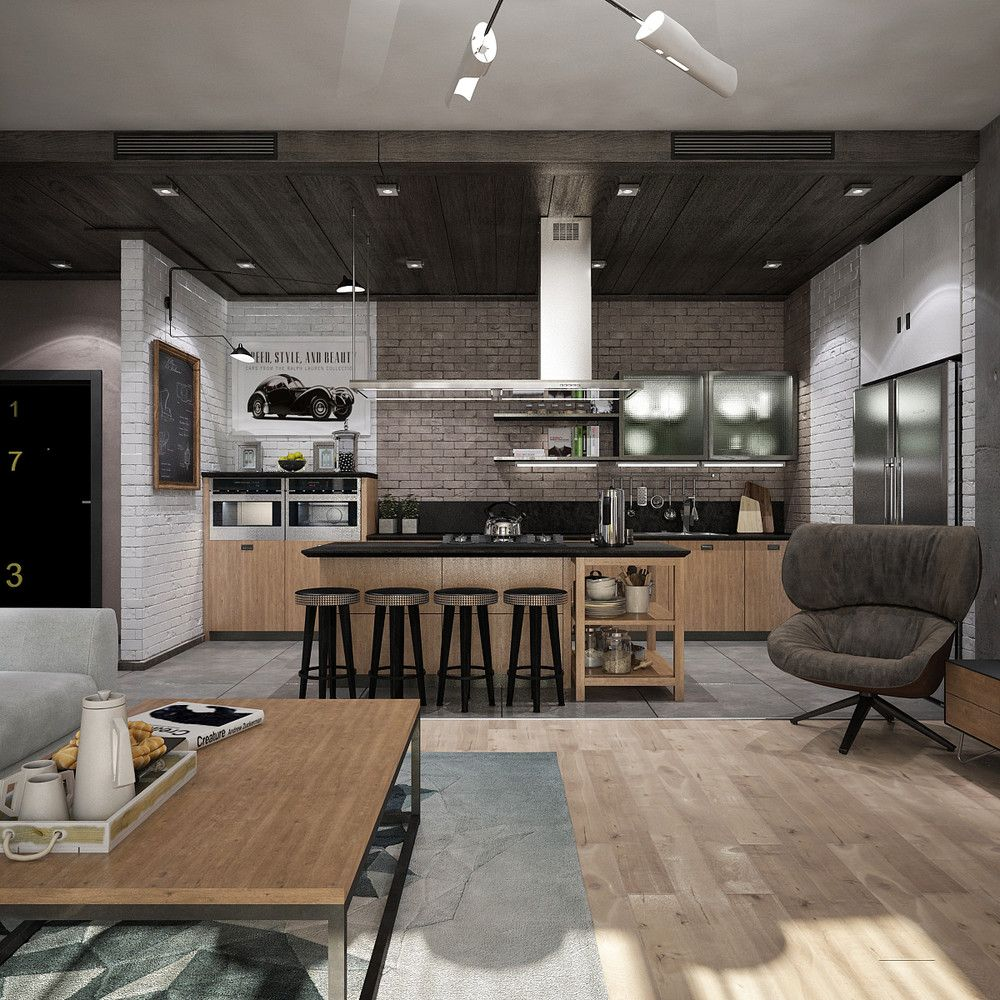 New York Studio Apartments: Awesome New York Style Apartment Interior Design With Open