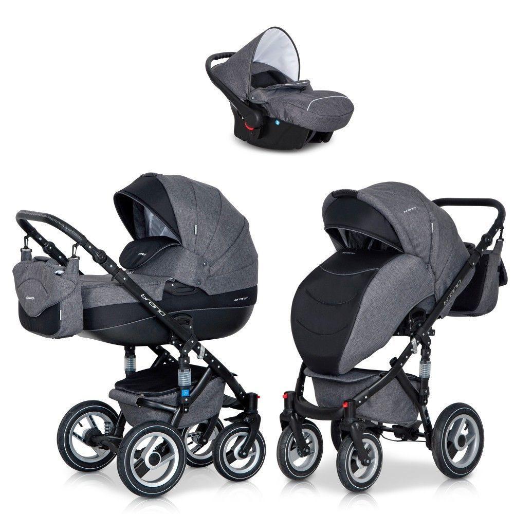 Riko 3in1 Kombi Kinderwagen Brano Grau Babywanne Buggy Auto
