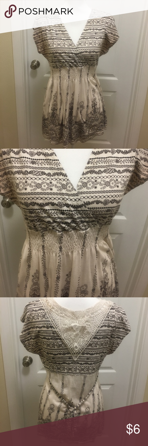 Brown/cream top Super cute and design on the back. Elastic at the waist to define shape Almost Famous Tops Blouses