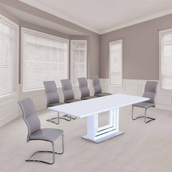 The Palma Extending White High Gloss Dining Table Brings Unique Contemporary Style To Any E