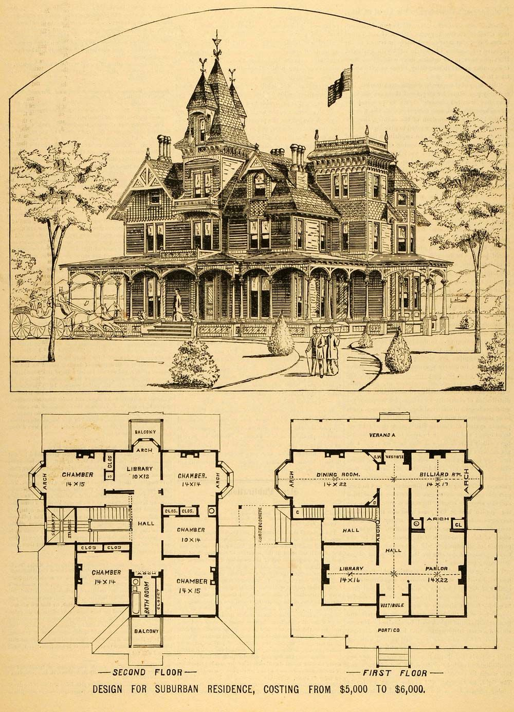 1879 Print Victorian House Architectural Design Floor Plans Horace G ...