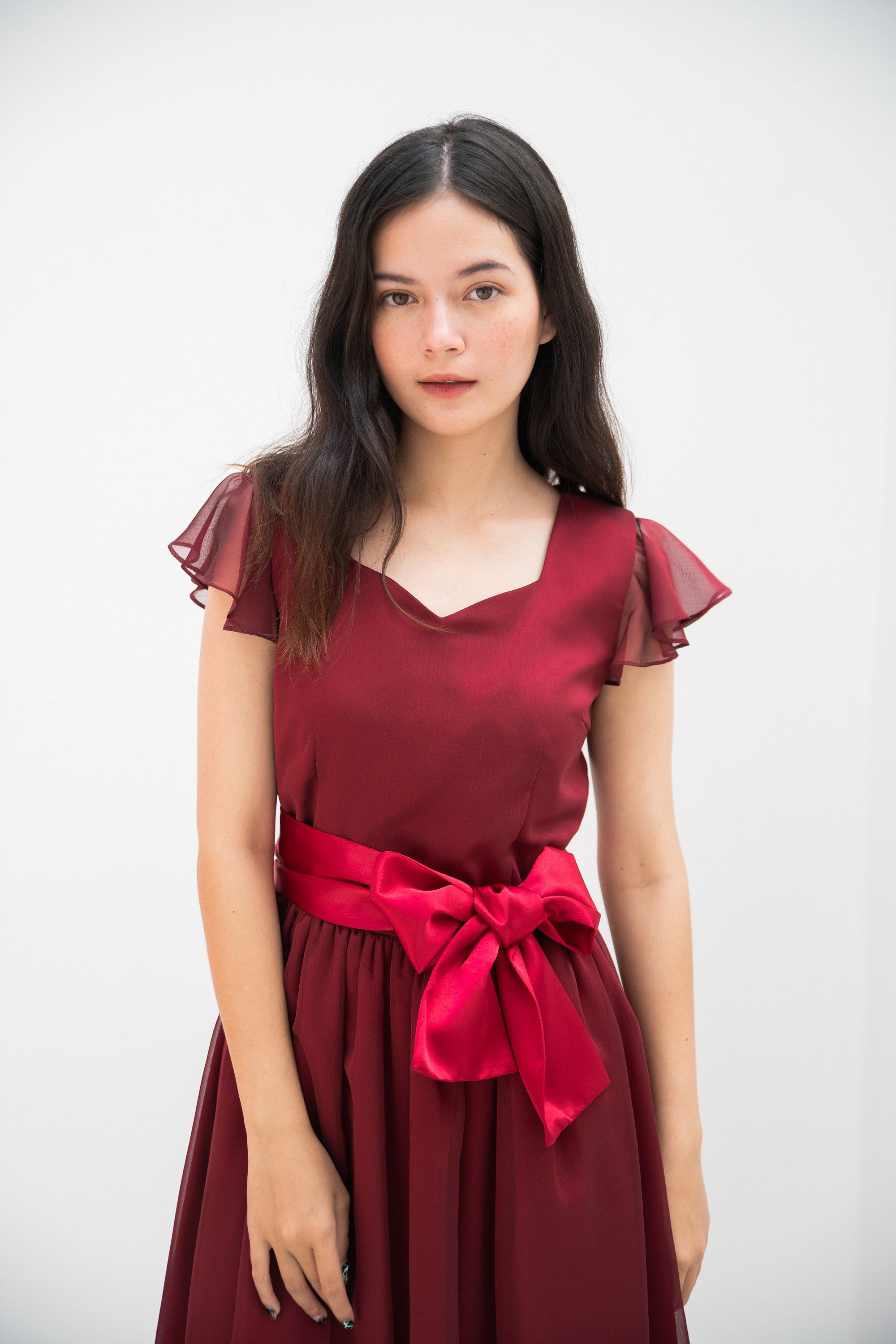 Sweetheart Red Vintage Party Dress Ruffle Sleeve Bridesmaid Silk Chiffon Dress Long Chinese Wedding Gown Fairy Look Hollywood Style 2020 [ 3000 x 2000 Pixel ]