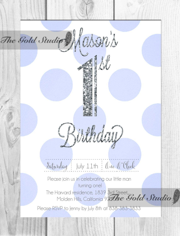 Boys 1st Birthday Invitation, unique blue and silver first birthday ...