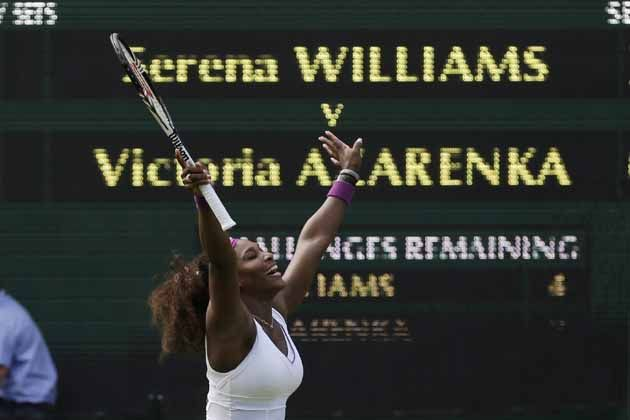 Serena Williams celebrates after defeating Victoria Azarenka in the Wimbledon semi-final.