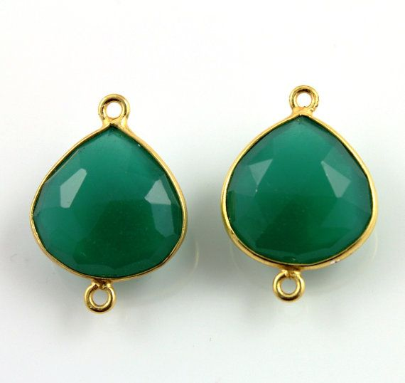 Natural Green Onyx Bezel Connector Heart Shape by Beadspoint, $7.99