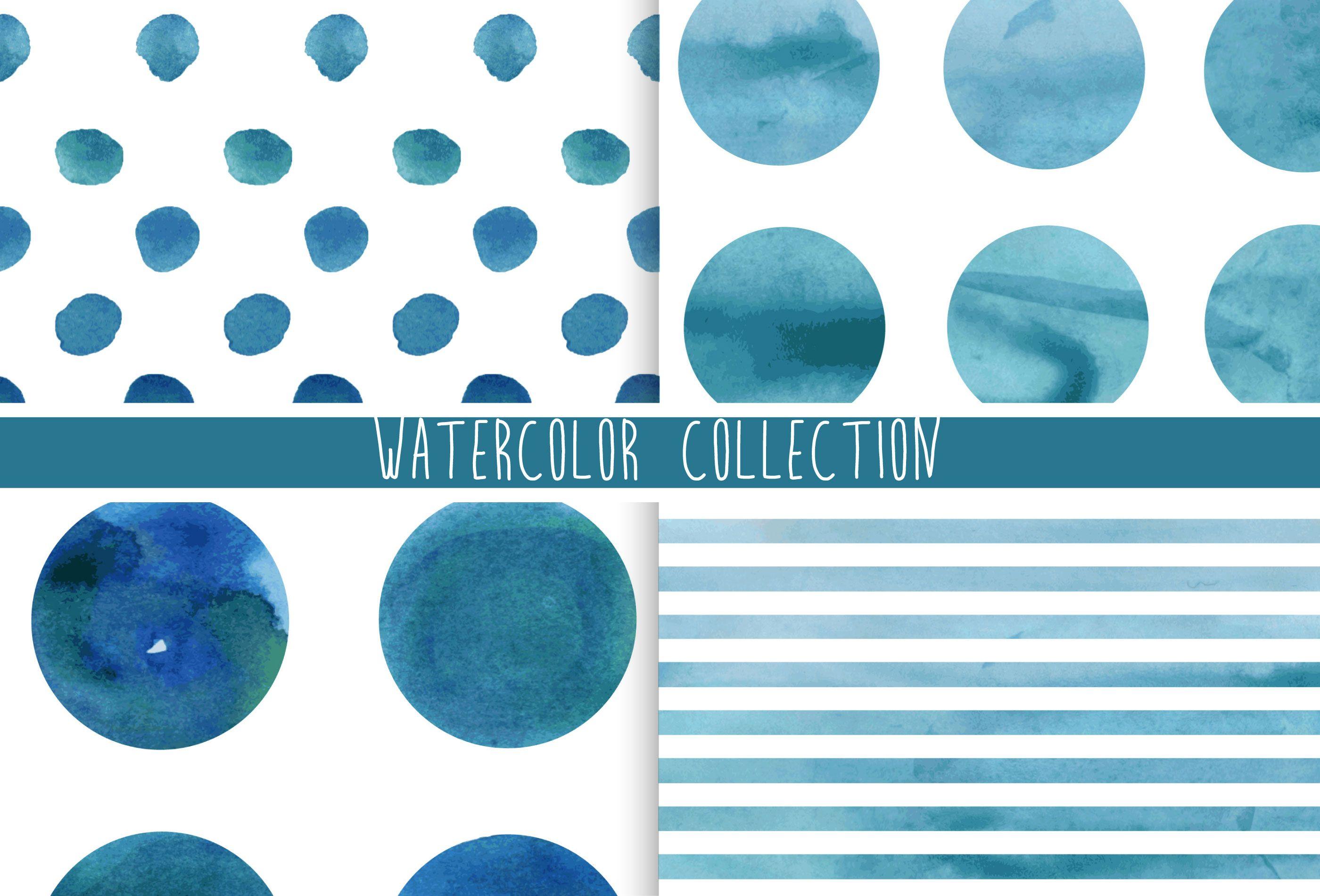 Watercolor pattern, lines, circles by Julia Dreams on @creativemarket