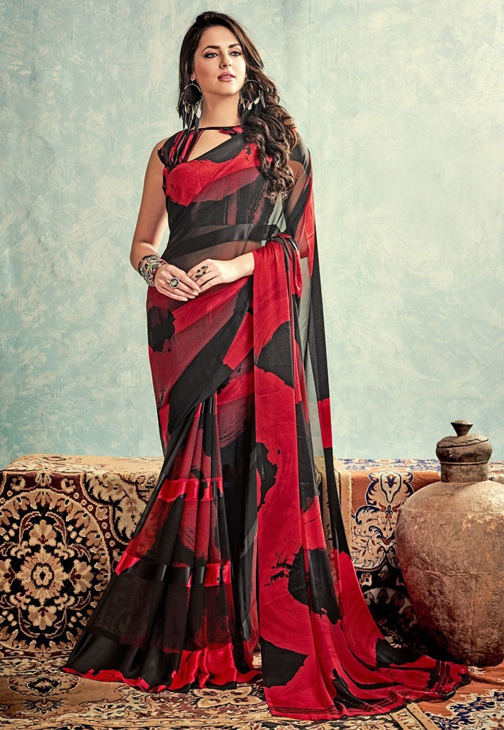 6600b0fbea Printed Georgette Saree in Black and Red | Costume Ideas | Saree ...