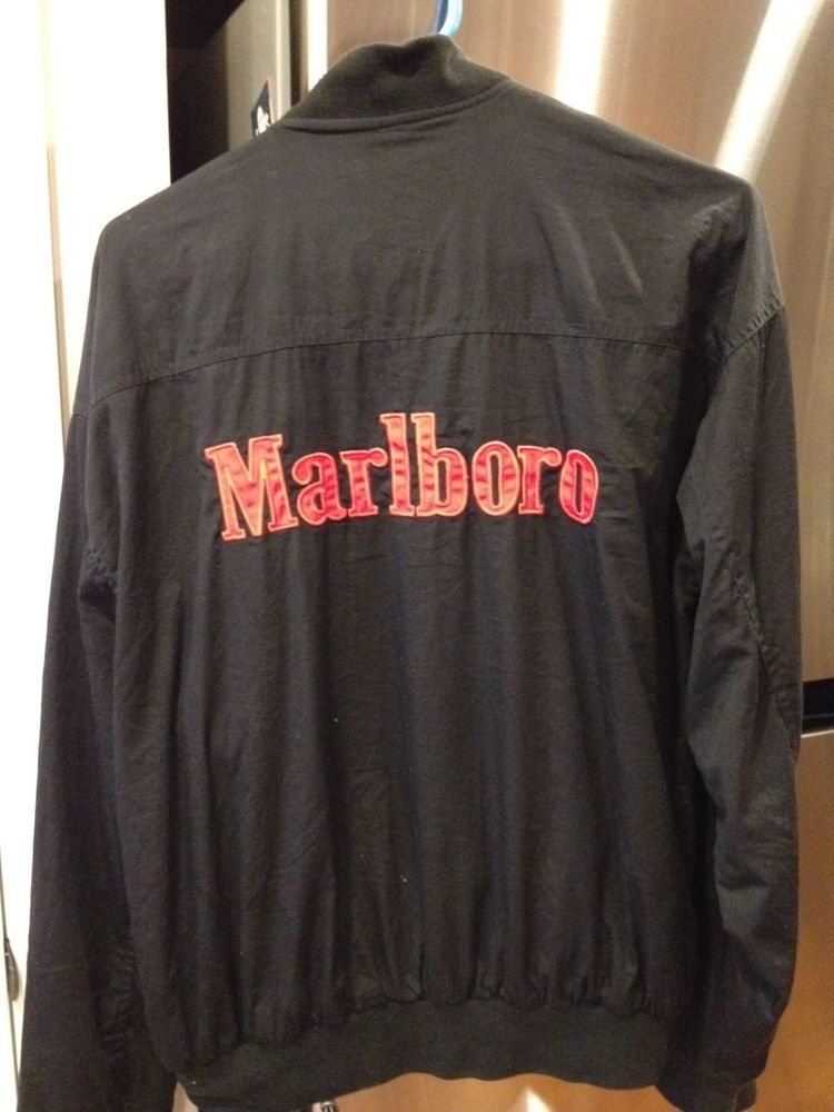 a5509cfc1 Marlboro Reversible Bomber Jacket Men Large Black Red Vintage 90s Sz ...