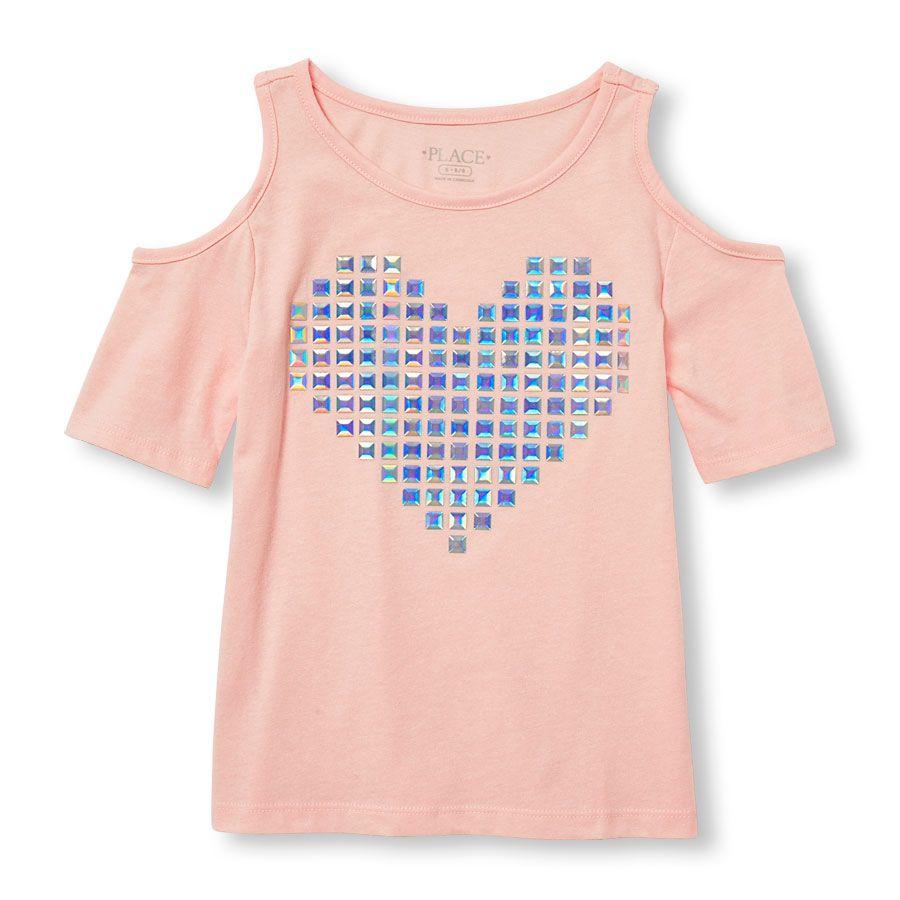 2690969014479 Girls Short Sleeve Embellished Graphic Cold-Shoulder Top