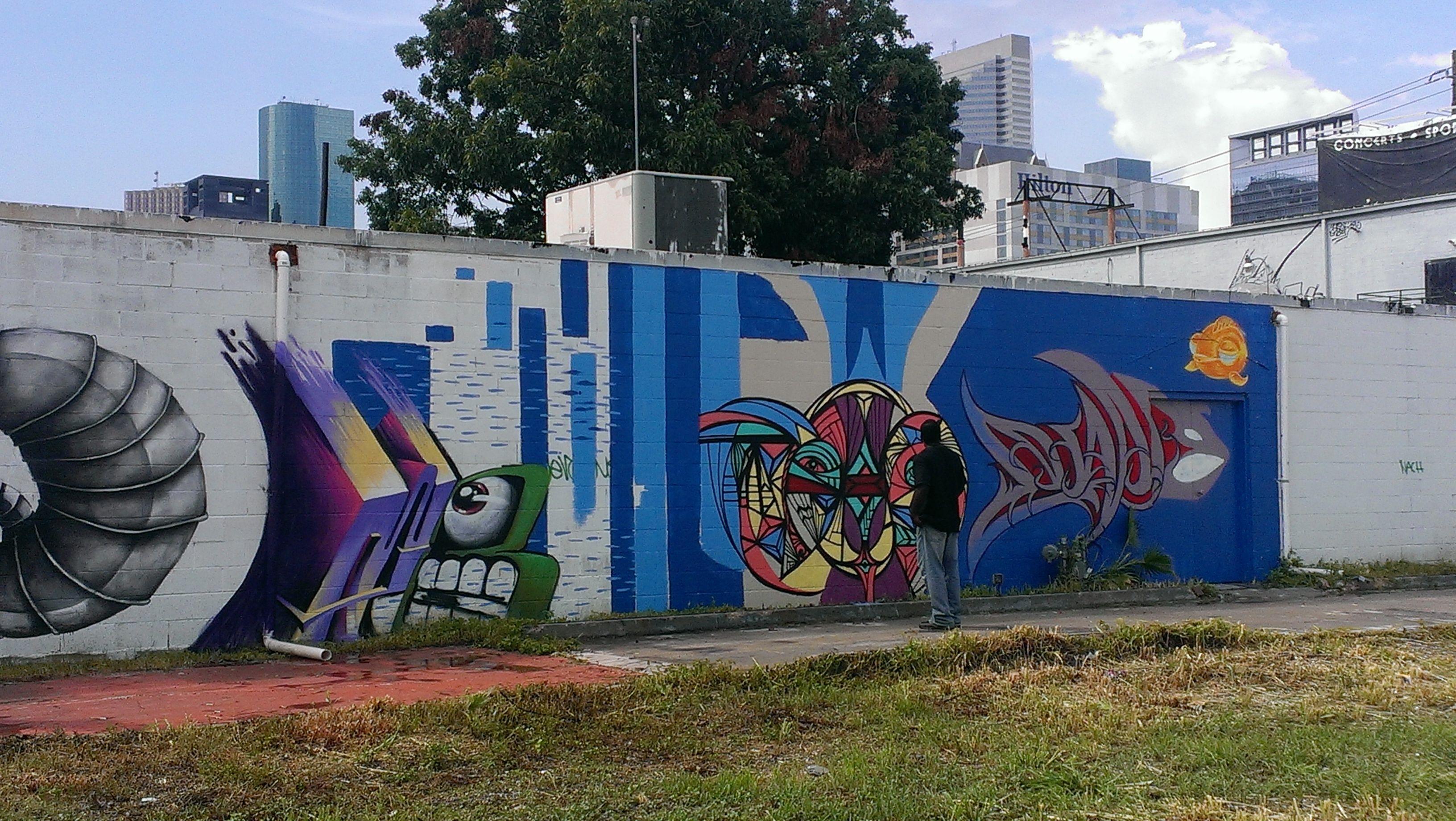 Houston street art collage multiple artists shared the