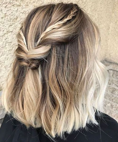 cute half braided medium thick hairstyles 2018 for women for an amazing look pinterest. Black Bedroom Furniture Sets. Home Design Ideas