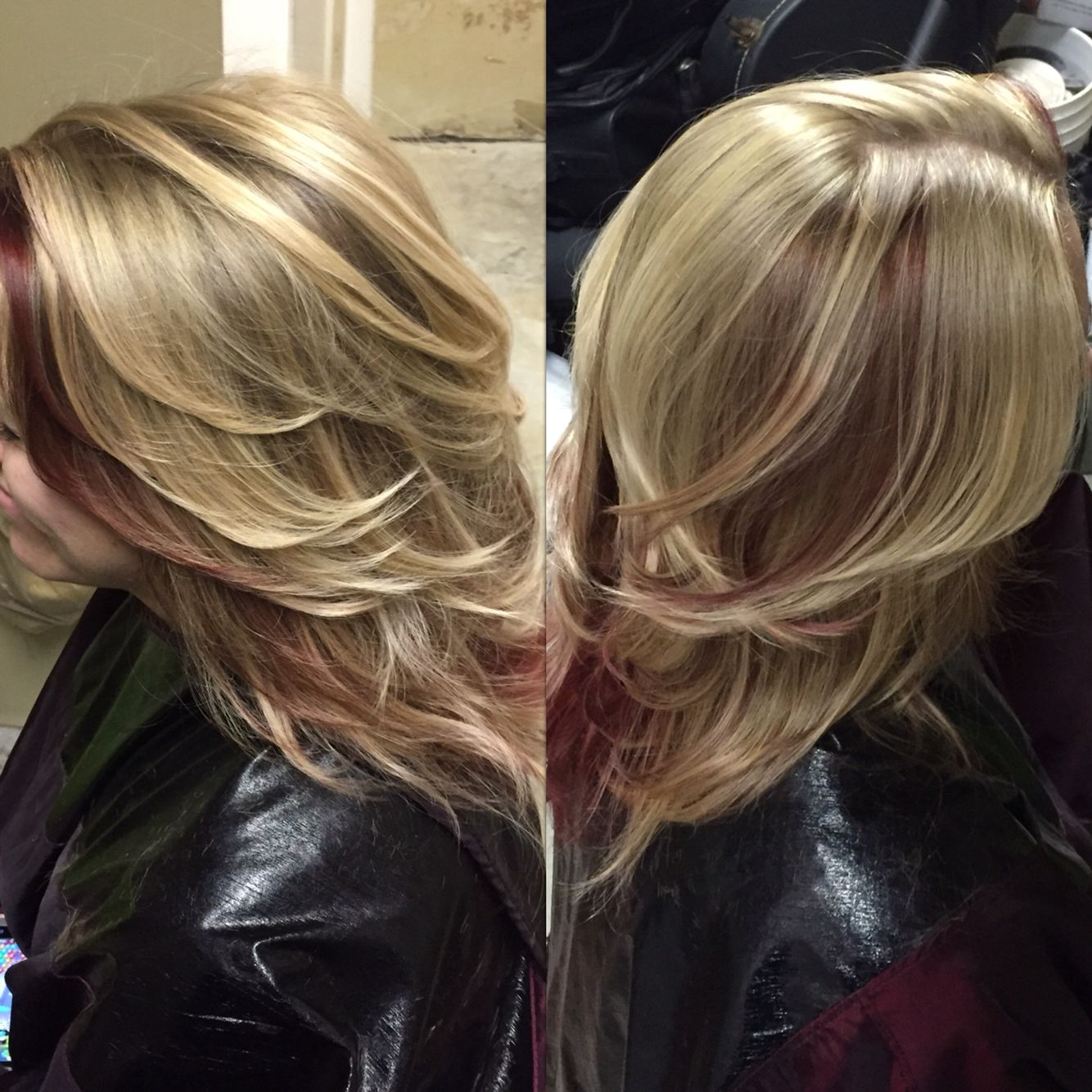Blonde and red blonde red highlights hadnut had a colour in a