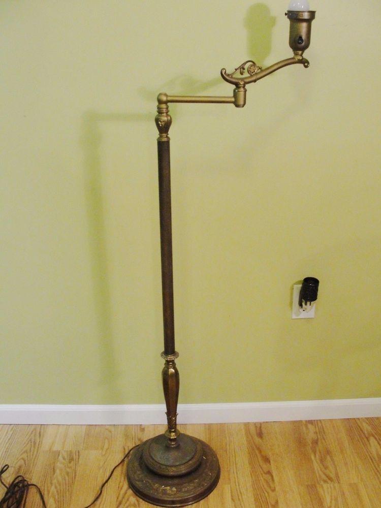 Vintage Rembrandt Swing Arm Floor Lamp Brass Metal Base 3 Way