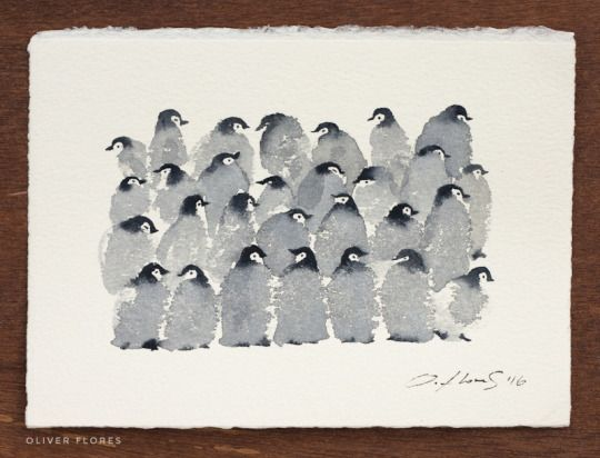 Pingouins A L Aquarelle Watercolor Penguins C Olivier Flores