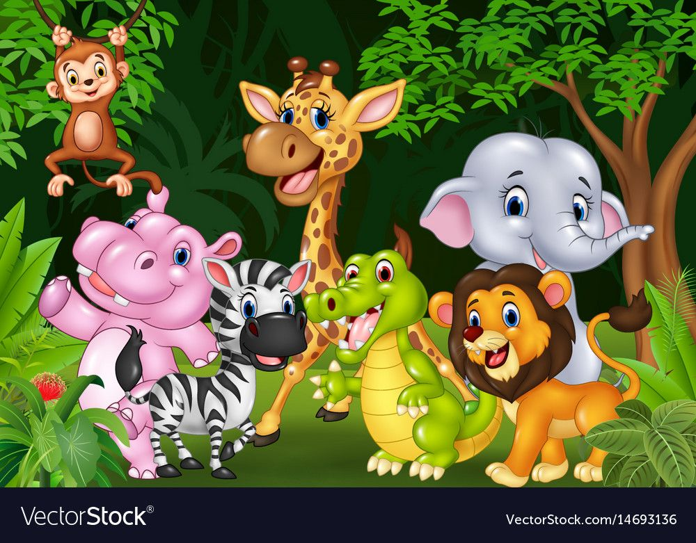 Illustration Of Cartoon Wild Animal In The Jungle Download A Free Preview Or High Quality Adobe Illustrato Animals Wild Cartoon Jungle Animals Cartoon Animals