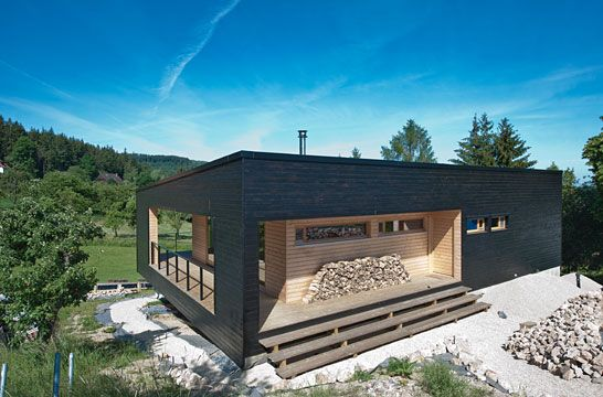 Maison bois à toit plat