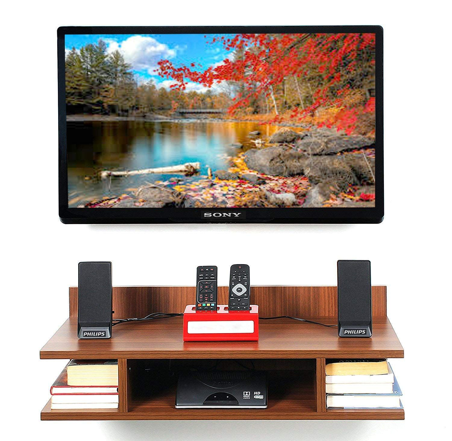 Captiver Wall Mounted Tv Units Wooden Classic Walnut 32 Inch Led Perfect Organizer Showpieces Shelf Shelves R Wall Mounted Tv Wall Mounted Tv Unit Mounted Tv