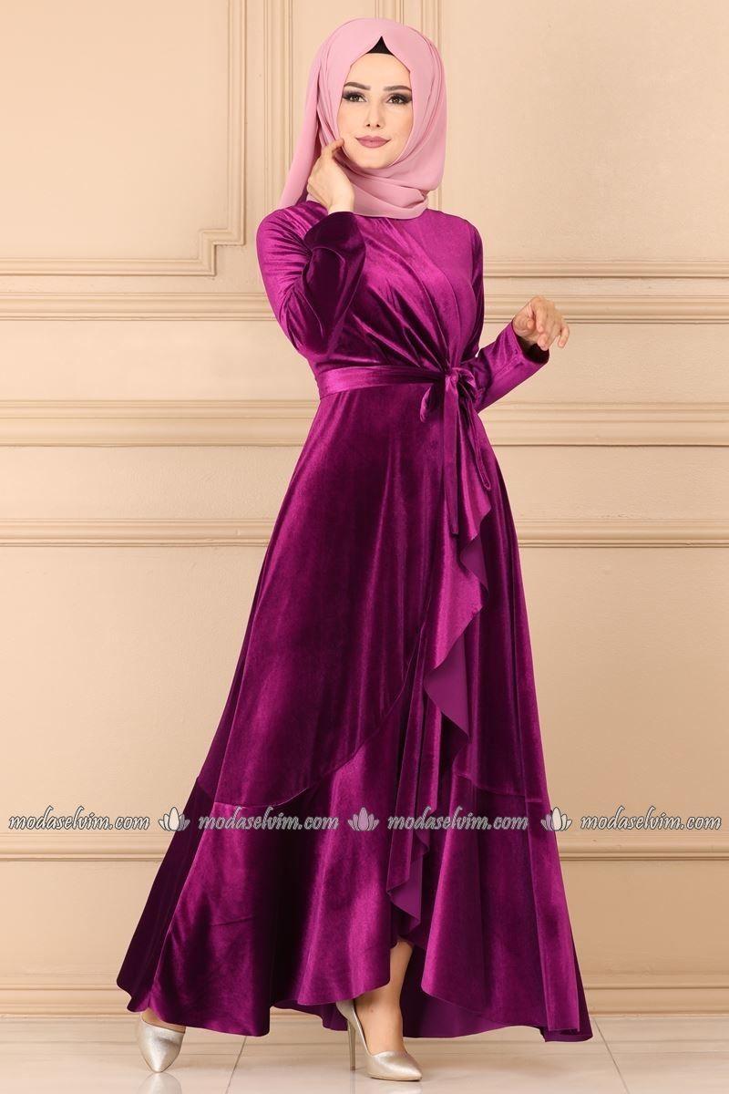 Firfirli Kadife Tesettur Elbise 5052ef311 Sarabi Moda Selvim Elbise Modelleri Elbise The Dress
