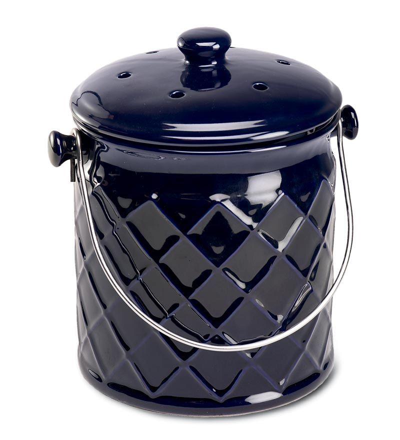 Gift For Me 1 Gallon Lattice Ceramic Compost Crock Love The Navy Blue Compost Container Kitchen Compost Bin Compost
