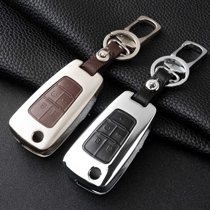 Brand New Zine Alloy Metallic Smart Remote Key Fob Shell Leather
