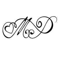 MdJ With A Heart Tattoo Design Black White Ink My Initials Or Kids