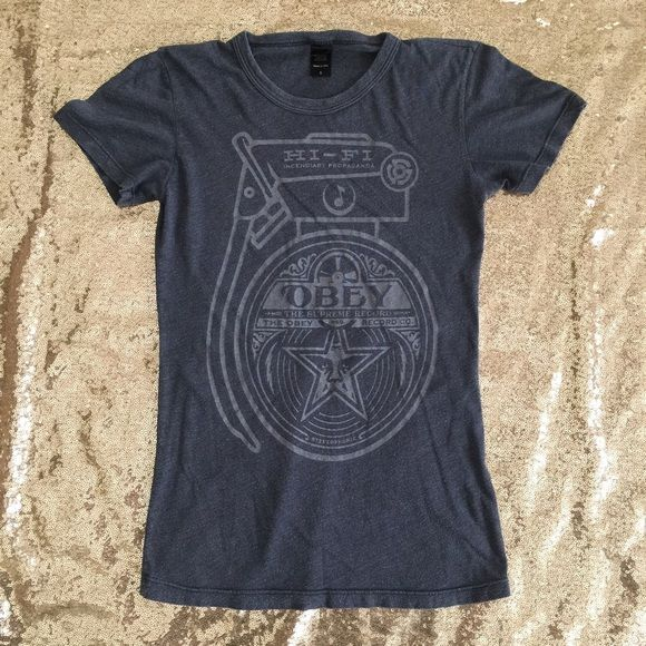 Obey T-Shirt Minor wear. No stains or holes. Light weight material. Measures 23.5 inches from shoulder to hem. 26 inches around the waist. Obey Tops Tees - Short Sleeve