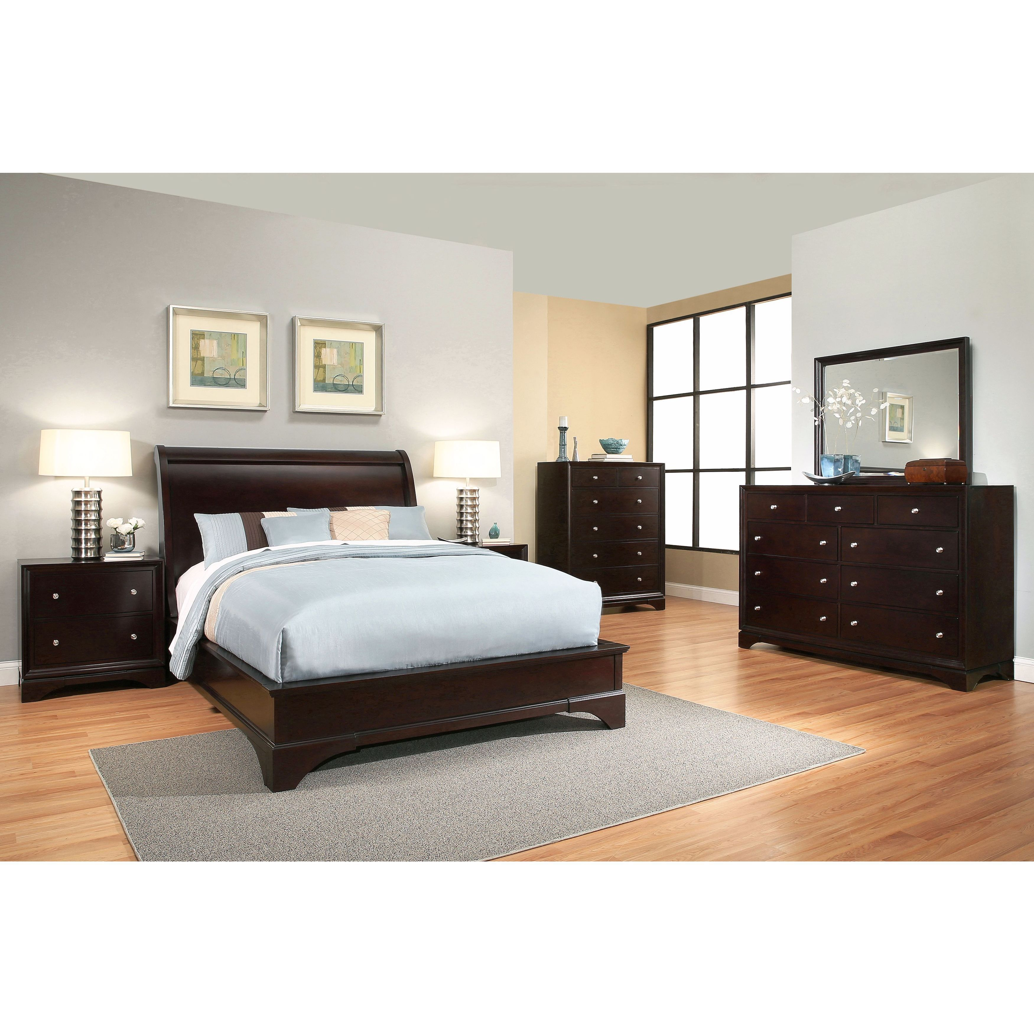 Abbyson sydney 6 piece espresso wood bedroom set - Espresso brown bedroom furniture ...