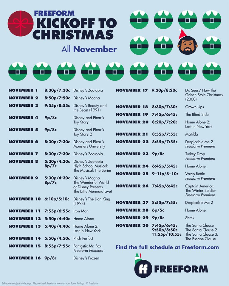 Freeform's Kickoff to Christmas Schedule 2019 25 days of