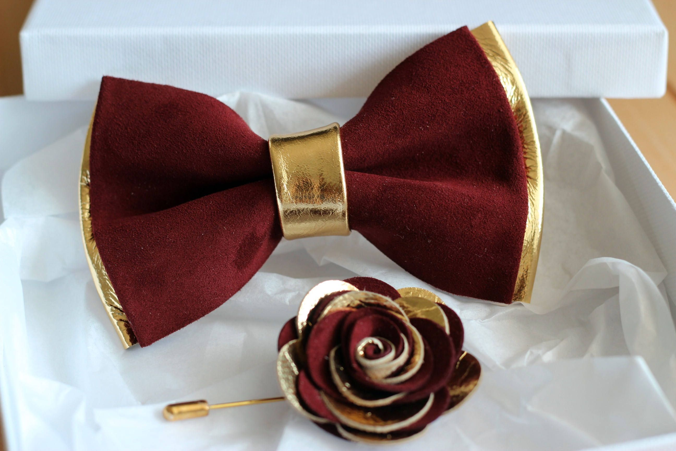 e84646044276 Gold and burugndy genuine leather bow tie for men, gold wedding bow tie,wedding  boutonnere, burgundy leahther todler bow tie, boys bow tie by ...