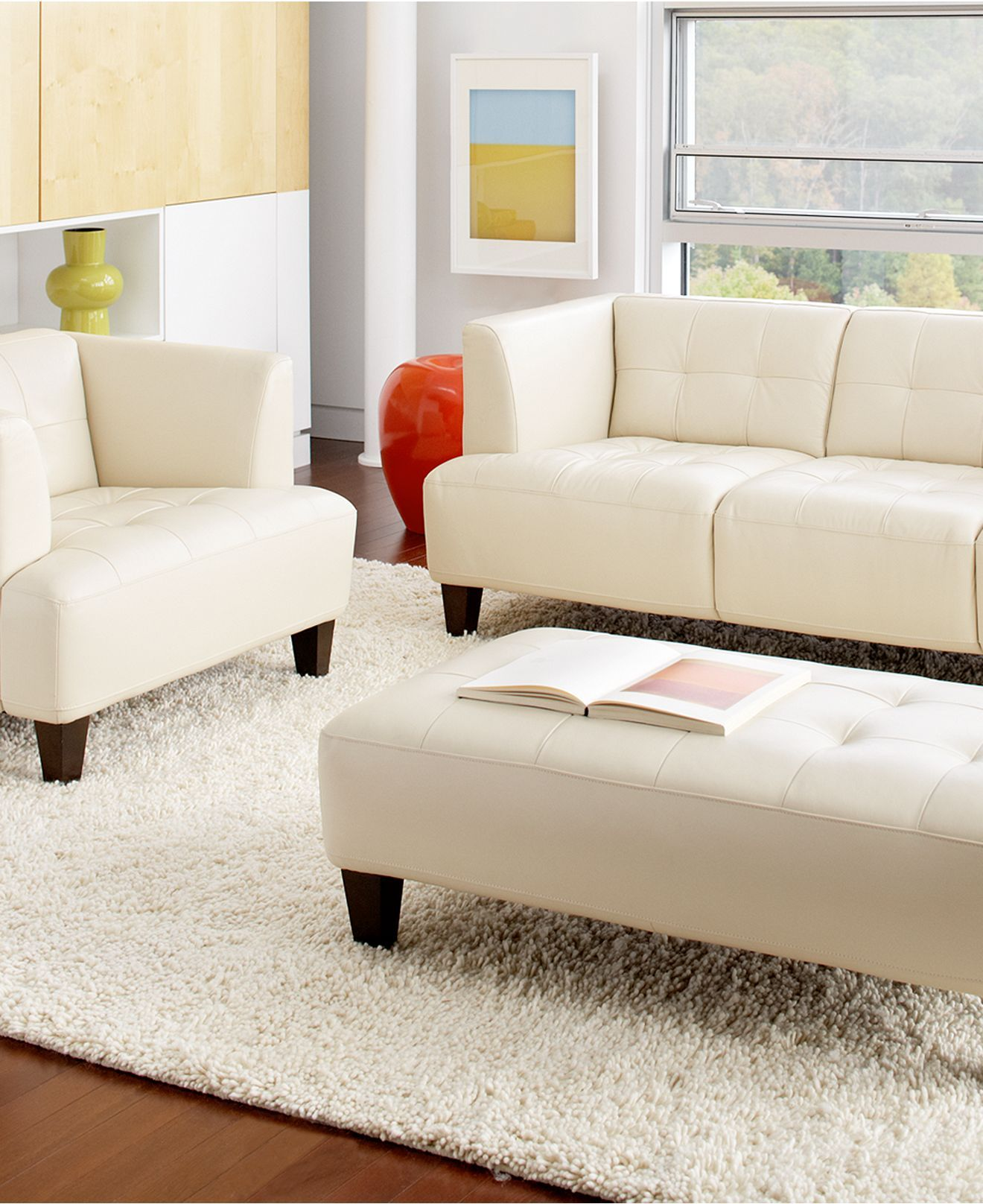 Alessia Leather Sofa Living Room Furniture Sets & Pieces - furniture ...
